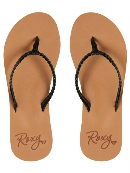 ROXY WOMENS FLIP FLOPS.NEW COSTAS BLACK STRAPPY FAUX LEATHER THONGS SANDALS S20
